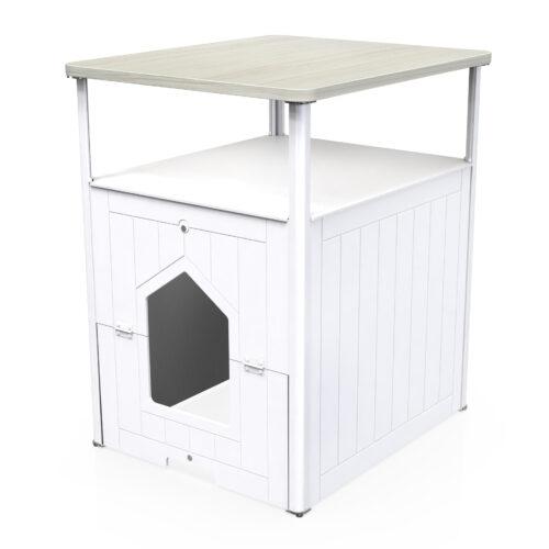 hidden litter box furniture white